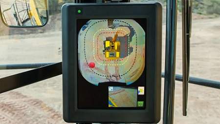 A new camera system allows for a full view around the heavy equipment machine.