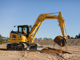 New Komatsu PC88MR-11 has faster boom and arm speeds, ideal for confined spaces
