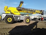 Side view of a Used Grove Rough Terrain Crane under a blue sky