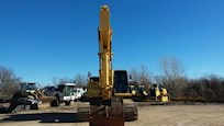 Front of Used Komatsu Excavator in Yard for Sale