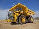 New Electric Dump Truck under cloudy sky